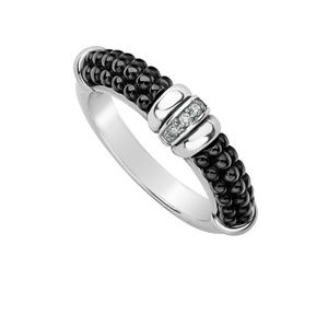 NEW Lagos Black Caviar Diamond Ring sz7